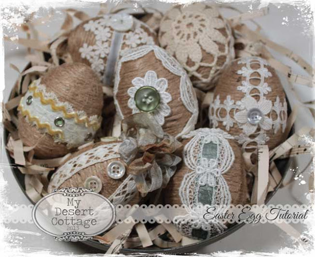 28 twine and lace easter eggs
