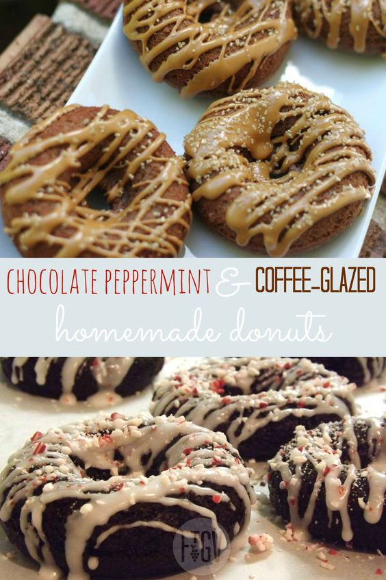 Chocolate Peppermint and Coffee Glazed Donut Flavors
