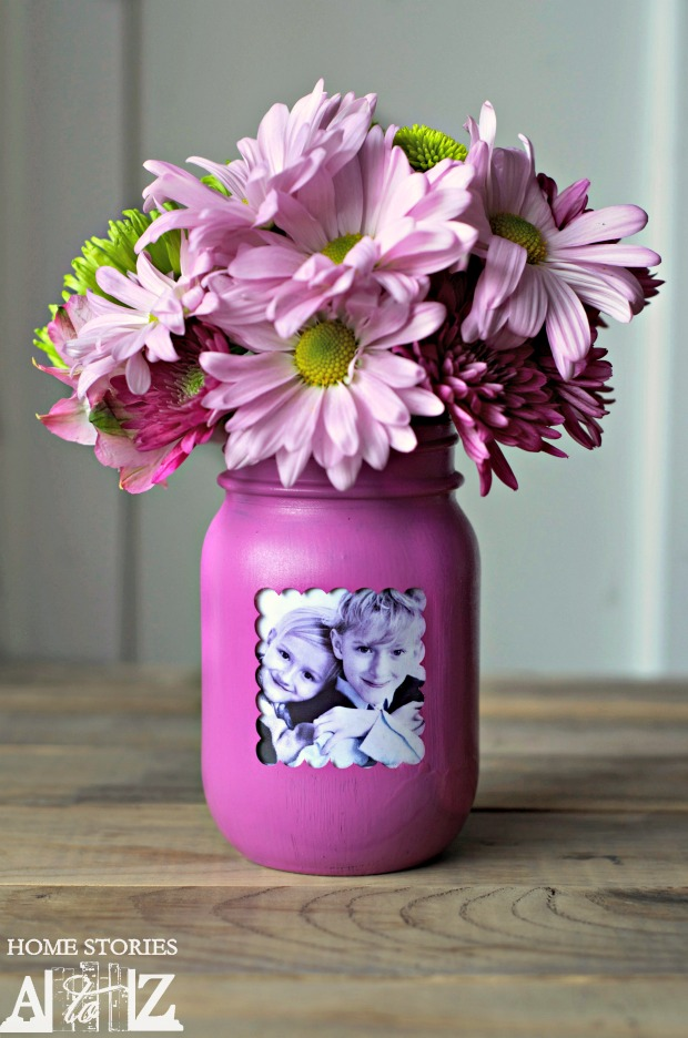 Mother's Day DIY Gift Ideas - Mason Jar Picture Frame Vase