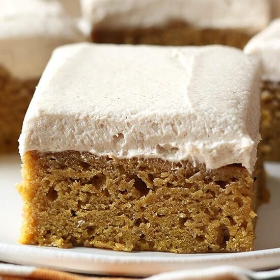 Pumpkin Bars with Brown Sugar Frosting-Best Pumpkin Dessert Recipes