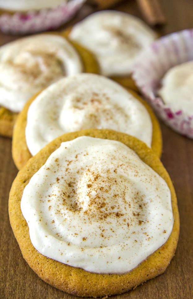 Pumpkin Cookies with Cream Cheese Frosting-Best Pumpkin Dessert Recipes