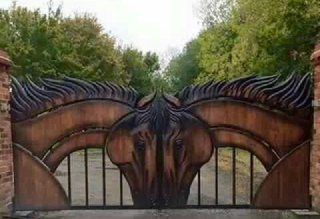 Outdoor Living Ideas - Carved Wood Horse Gate