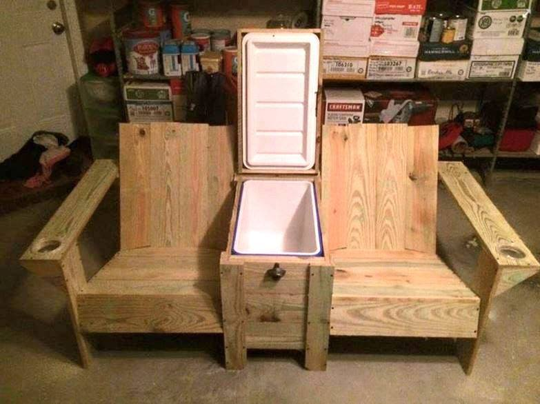 Outdoor Living Ideas - Adirondack Chairs with a built-in cooler and cup holders