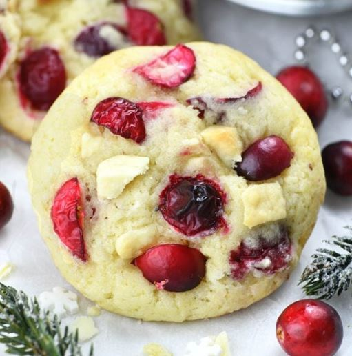 Fresh Cranberry White Chocolate Christmas Cookies