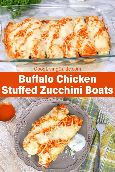 Buffalo Chicken Stuffed Zucchini Boats