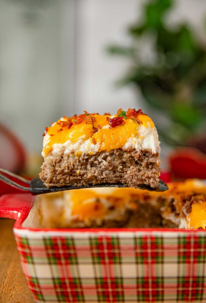 Loaded Mashed Potato Meatloaf Casserole