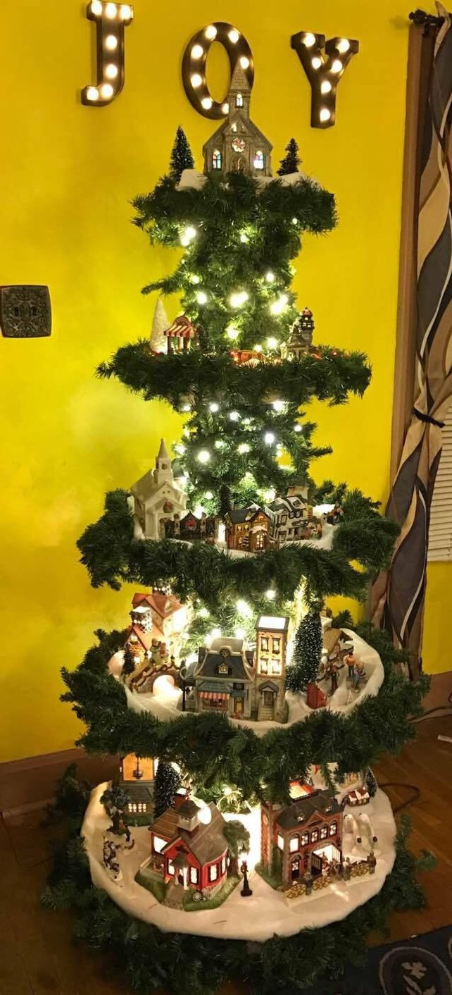 Christmas Village Display.How To Make Your Own Christmas Village Display Tree
