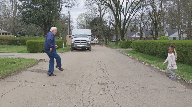 Grandpa Has The Sweetest Dance-Off With Granddaughter From Across The Street