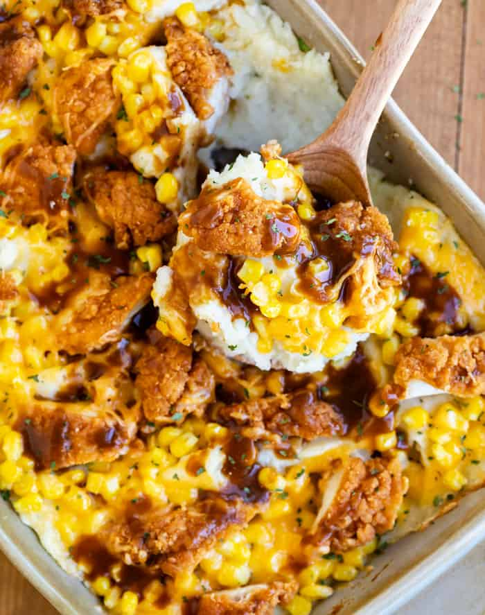 Mashed Potato Casserole with Crispy Chicken